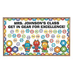 What a great way to jazz up your classroom decorations! Brighten your bulletin board with these cute robot and gears cutouts. Includes borders, letters, numbers and more. per unit) - 25 x 1 - © OTC Robot Bulletin Boards, Bulletin Board Supplies, Summer Bulletin Boards, Birthday Bulletin Boards, Bulletin Board Borders, Classroom Supplies, Classroom Themes, Classroom Resources, Classroom Organization