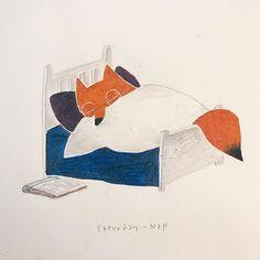 Cold Saturday afternoon mood in fall. #MrFox #drawing #illustration #saturday #character #fox