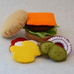 Felt Food Deluxe Hamburger Children's Play Food by FeltFarmMarket