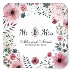 Mr. & Mrs. Floral Watercolor Wedding Sticker Seal - anniversary gifts ideas diy celebration cyo unique