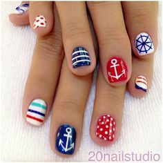 Navy Blue and Red Nautical Nails With Anchors ⚓