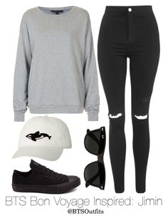 """BTS Bon Voyage Inspired: Jimin"" by btsoutfits ❤ liked on Polyvore featuring Topshop, Orca, Converse and Ray-Ban"