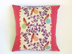 This pink cushion cover with a bird design is made from Echino fabric, a lovely Japanese linen/ cotton blend.