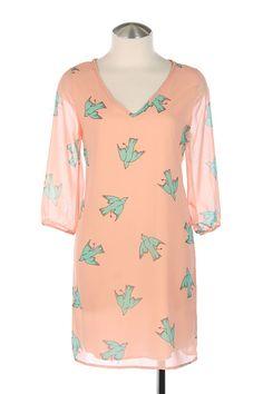 BIRD PRINT V-NECK CHIFFON SHIFT DRESS