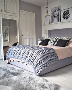 Scandi Bedroom in grey, gold and pink, and large knit blanket