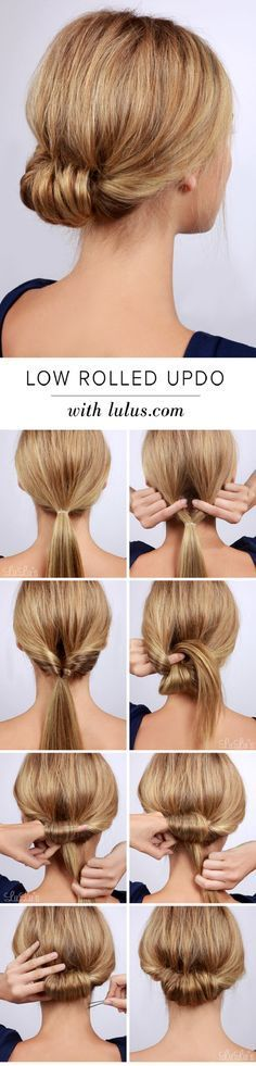 Lulus How-To: Low Rolled Updo Hair Tutorial Need to get party-ready in a pinch? Or maybe you're in need of a new look for that upcoming dinner party? Our Low Rolled Updo is just the thing! Wedding Hairstyles For Long Hair, Trendy Hairstyles, Straight Hairstyles, Braided Hairstyles, Holiday Hairstyles, Long Haircuts, Hairstyles 2018, Beautiful Hairstyles, Straight Hair Updo