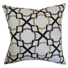 Cotton pillow with trellis motif. Made in the USA.   Product: PillowConstruction Material: Cotton and 95/5 down f...