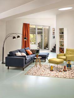 Micasa Wohnzimmer mit Ecksofa LORITZ und Beistelltisch GAIL