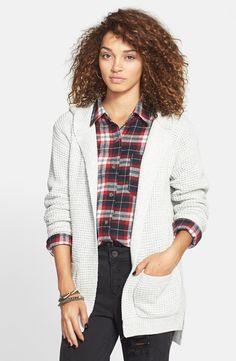 BP. Shaker Stitch Hooded Cardigan (Juniors) available at #Nordstrom