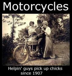Chicks love motorcycles and the shark kage