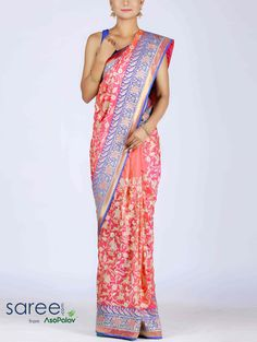 PINK AND BLUE SILK SAREE WITH RESHAM WORK