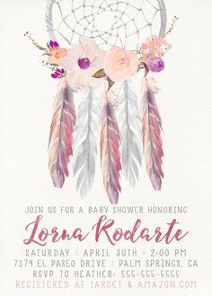Celebrate With This Unique Invitation! Girl Baby Shower Invitation,  Dreamcatcher, Boho, Watercolor