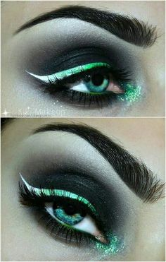 This is so awesome, that is what the hulk wants in a girlfriend. Beautiful green awesomeness. #EyeMakeupSimple Goth Eye Makeup, Evil Makeup, Disney Eye Makeup, Mermaid Eye Makeup, Medusa Makeup, Maleficent Makeup, Mermaid Eyes, Punk Makeup, Witch Makeup