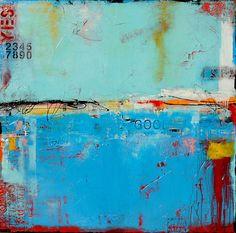 Matchbox Blues 5 by Erin Ashley - mixed media acrylic on canvas http://www.etsy.com/shop/erinashleyart