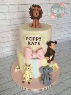 Zoo Animals Christening Cake - Cake by Babycakes & Roses Cakecraft