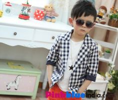 a0c4b8ac121b Plaid Checks Summer Coat in White and Blue for Baby Boys