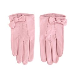 Girly pink leather gloves with bows