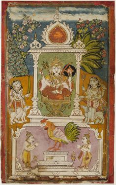 Devi with Rooster (Renuka). Opaque watercolor on paper, India, Deccan, ca. Mughal Miniature Paintings, Mughal Paintings, Indian Paintings, Asian Gallery, Vintage India, Philadelphia Museum Of Art, Durga Goddess, Hindu Art, Fantastic Art