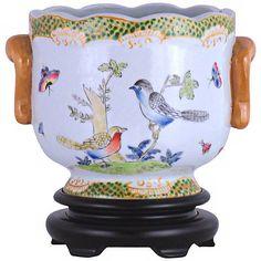 Birds and Butterflies Hand-Painted Porcelain Cachepot - #V2657 | Lamps Plus