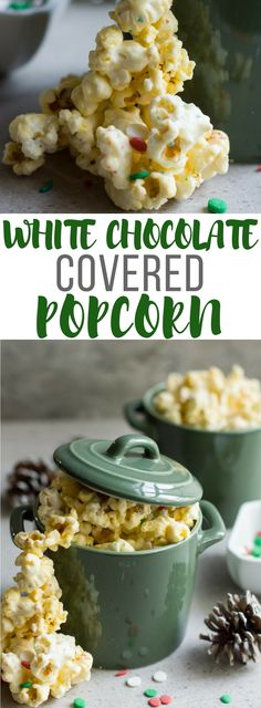 White chocolate covered popcorn is a fun and festive snack or party favor. Easy to make with the kids and perfect for every occasion.