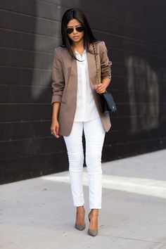 All-white with jacket and accessories in various color palettes