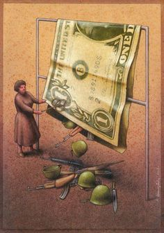 by Pawel Kuczynski. The extremely large US dollar is a way to showing satire. Political satire like this is appropriate for the play. Satirical Cartoons, Satirical Illustrations, Das Experiment, Digital Foto, Social Art, Social Media, Political Art, Political Issues, Auguste Rodin