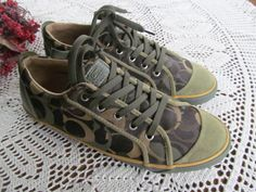 Army Green Coach Sneakers Barrett Vintage Coach Shoes Sz 10 Big C Coach Brown and Green  ReVintageLannie.Etsy.com Coach Sneakers, Coach Shoes, Shoes Sneakers, 2014 Trends, Antiques For Sale, Shoe Closet, Vintage Coach, Shoe Game, Army Green