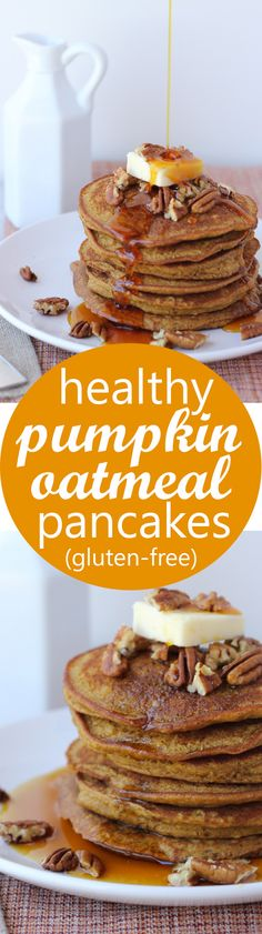 Healthy Pumpkin Oatmeal Pancakes! Easy, delicious gluten-free pancakes made with…