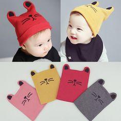 4a42313ff37 Cartoon Baby Hats Cat Knitted Cap Beard With Ears Winter Warm Newborn Caps
