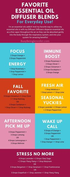 Everyday favorite Essential Oil Diffuser Blends! I love these!! Especially those stress relieving blends! - http://BusyBeingJennifer.com