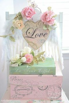 Shabby Chic pastel suitcase with pink roses and heart
