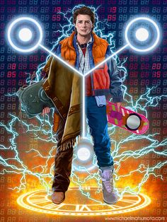 "Clever and Cool BACK TO THE FUTURE Trilogy Fan Art — ""W8AMINIT"""