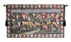 Deer and Shields Tapestry Medieval Tapestries The colorful and charming deer in the forest surrounded by the shields that show the Coat of Arms of the Knights of the Round Table in King Arthur's court