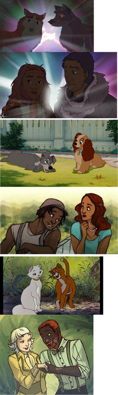 Disney Humanization. The 1st isn't disney, though. It's Balto, which isn't Disney