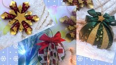 """3 ADORNOS NAVIDEÑOS """" SÚPER FÁCILES Y RÁPIDOS DE HACER """" Color Cobrizo, Decoupage, Recycling, Gift Wrapping, Diy, Crafts, Holiday Ornaments, Manualidades, Gift Wrapping Paper"""