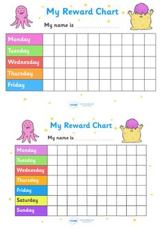 Twinkl Resources >> My Reward Chart Monsters  >> Thousands of printable primary teaching resources for EYFS, KS1, KS2 and beyond! my reward chart, monsters, chart, reward, well done, certificate, award, school, general, monster, monster themed, scary, cute, days of the week, reward, good work,
