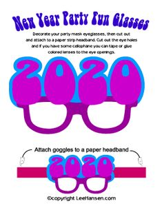 Printable New Year Cut Out Mask Craft Sheet. see 2020 for your party! Printable Masks, Printables, Diy Crafts For Gifts, Paper Crafts, Craft Party, Party Fun, Christmas Stencils, Silhouette Cutter, Simple Prints