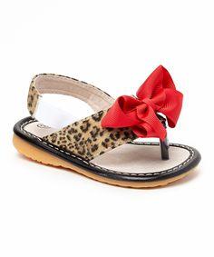 Laniecakes Leopard & Red Add-a-Bow Squeaker Sandal by Laniecakes #zulily #zulilyfinds