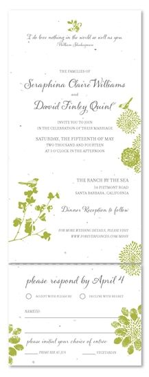Seeded Paper Wedding Invitations - Nature's Glory