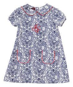 Loving this Blue & White Floral Monogram Shift Dress - Infant & Toddler on #zulily! #zulilyfinds