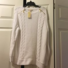 NWT, Michael Kors Off White/Cream Sweater Brand new with tags, never worn, cotton and polyester blend, has gold zipper detail that says Michael Kors. Off white/ cream color Michael Kors Sweaters Crew & Scoop Necks