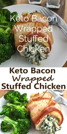This Keto Bacon Wrapped Stuffed Chicken is the perfect low carb dinner idea for the whole family. Almost perfect macros and tons of flavor, this is a great keto meal prep solution too!