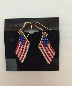 USA Flag Earrings, Handmade, Great for Fourth of July and Memorial Day