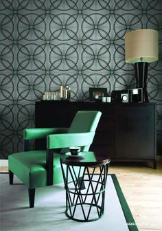 Tapeta do salonu/ sypialni w klimacie Art Deco/ Denim blue Art Deco wallpaper. #artdeco