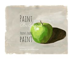 YOU TOO  can paint this green apple-  it's your final lesson at How to Paint with Acrylics!  Paint. Be Inspired. Paint. Paint. Paint.   www.acrylicmuse.com