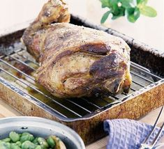 A superb main course for a dinner party. From BBC Good Food. How To Cook Lamb, Roasting Tins, Fava Beans, Vegetable Puree, Meat Recipes, Stew, Pork, Mint, Stuffed Peppers