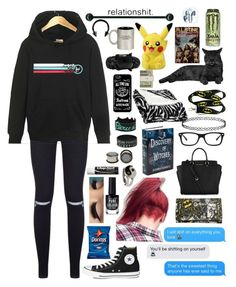 """""""I'm semi- automatic ❤️"""" by xxghostlygracexx ❤ liked on Polyvore featuring Converse, Michael Kors, New Look, Trilogy, Chapstick, Ray-Ban, Northpoint, Alexander McQueen, Jack Spade and Urbiana"""