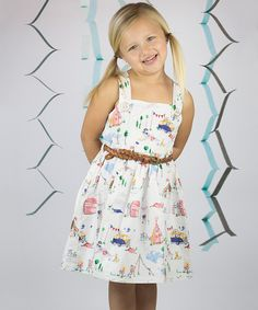 Look at this White Camping Belted Dress - Toddler & Girls on #zulily today!
