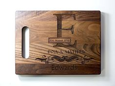 Custom Cutting Board  Wedding Gift Cutting Board  Anniversary Gift  Personalized Cutting Board  Wood Custom Engraved  Wedding present  Personalized housewarming gift  Engraved cutting board >>> Visit the image link more details. Note:It is affiliate link to Amazon.