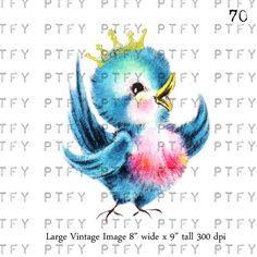 Vintage Greetings Card Vintage Bluebird LARGE Digital Image Download Sheet Transfer To Totes Pillows Tea Towels T-Shirts. $3.75, via Etsy.
